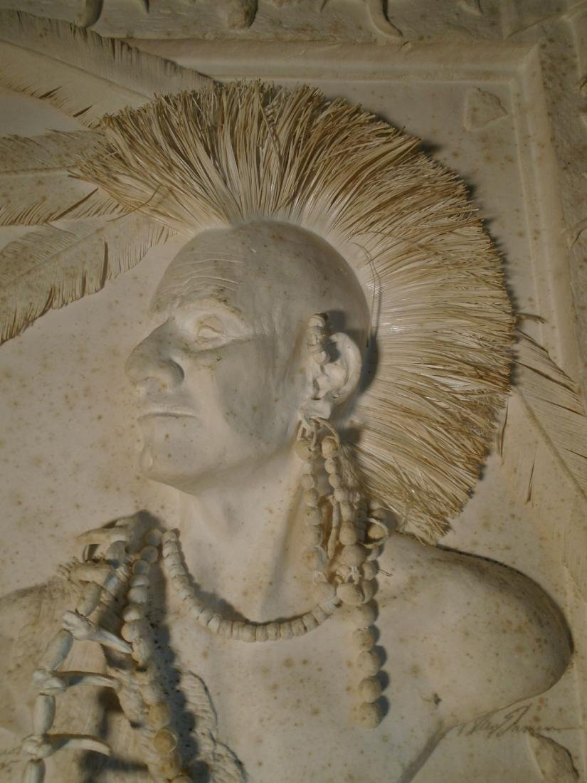 Mohawk Warrior Bust of a male Indian Cast Paper Wall - 2