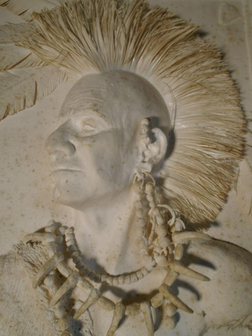 Mohawk Warrior Bust of a male Indian Cast Paper Wall - 5
