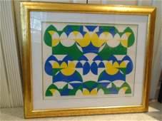 Numer Three framed Lithograph, geometric design.