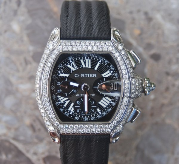 """7: Cartier """"Roadster"""" Chronograph XL with Diamonds."""