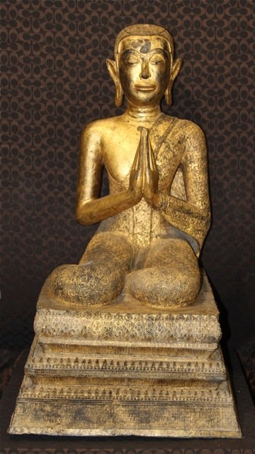 57: A Pair of 18th Century Gilt Bronze Seated Monks