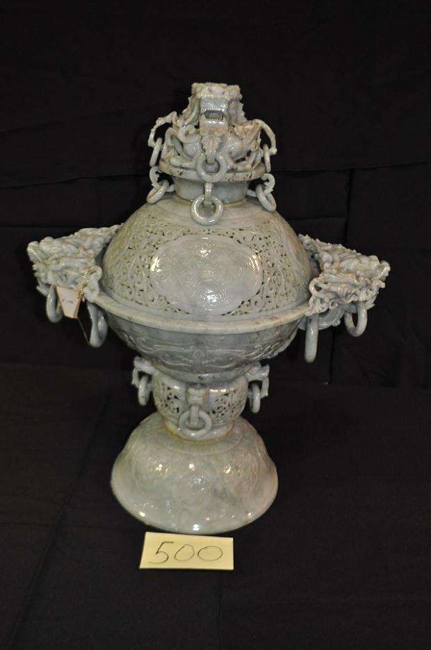 500: Large Jade dragon Incense burner