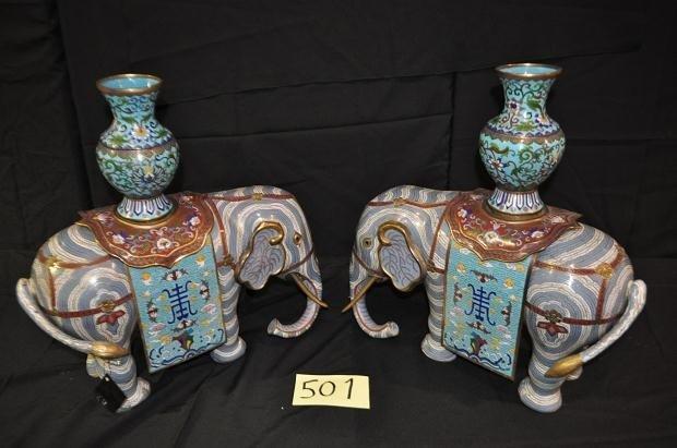 501: 2 Cloisonne Elephants