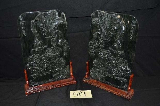 514: Pair of Jade Birds on Perch Tables