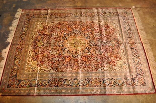536A: Persian Hand Woven Pure Silk Rug