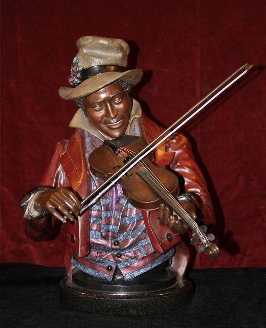 """14: A. Matthews Bronze Sculpture """"Fiddler"""""""