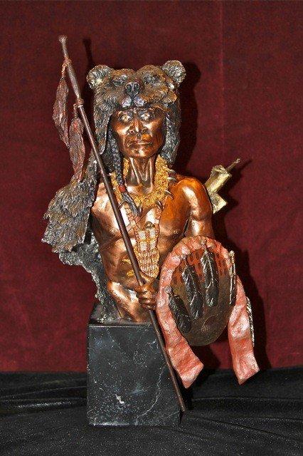 """21: Chilmark Bronze Sculpture """"Bear Vision"""""""