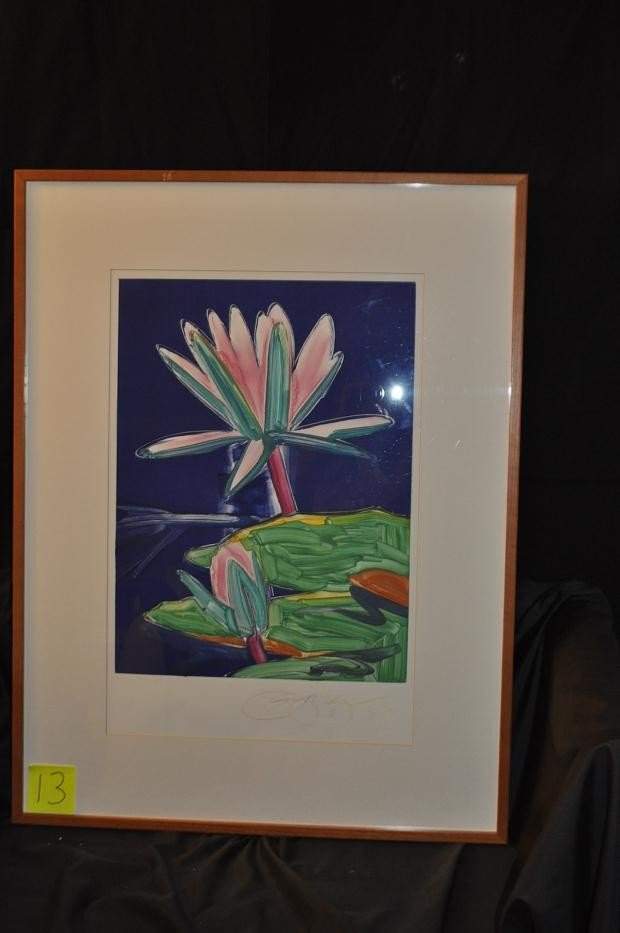 13: LITHOGRAPH PINK AND GREEN BROMELIAD