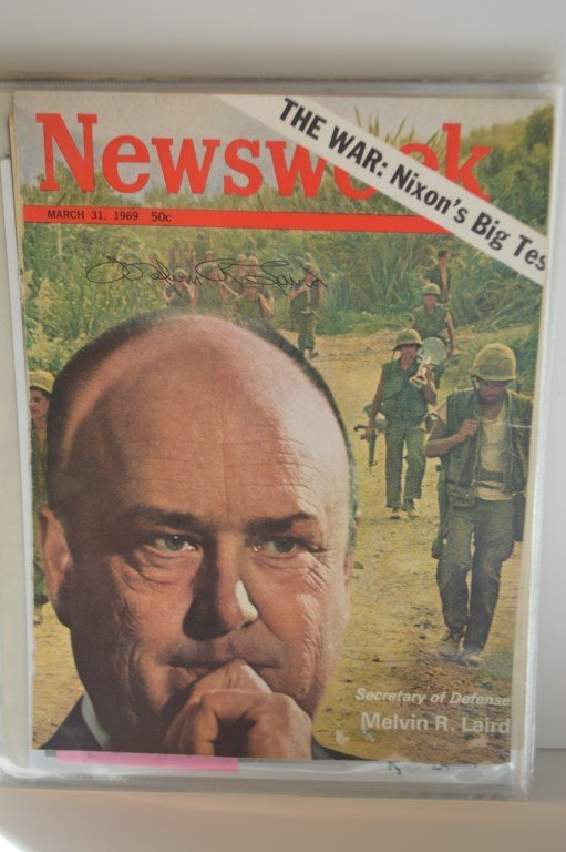 Melvin R. Laird Autographed 1969 Newsweek cover