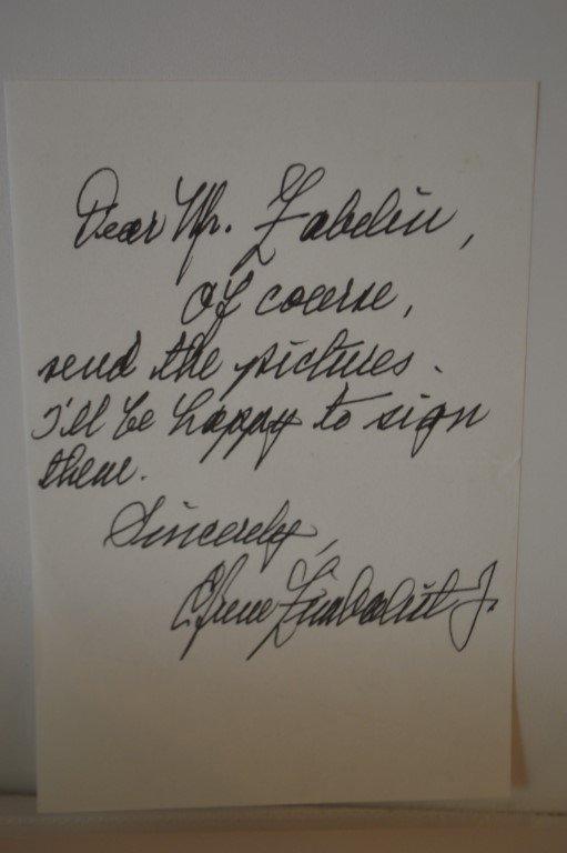 Douglas Fairbanks, Jr. Signed note