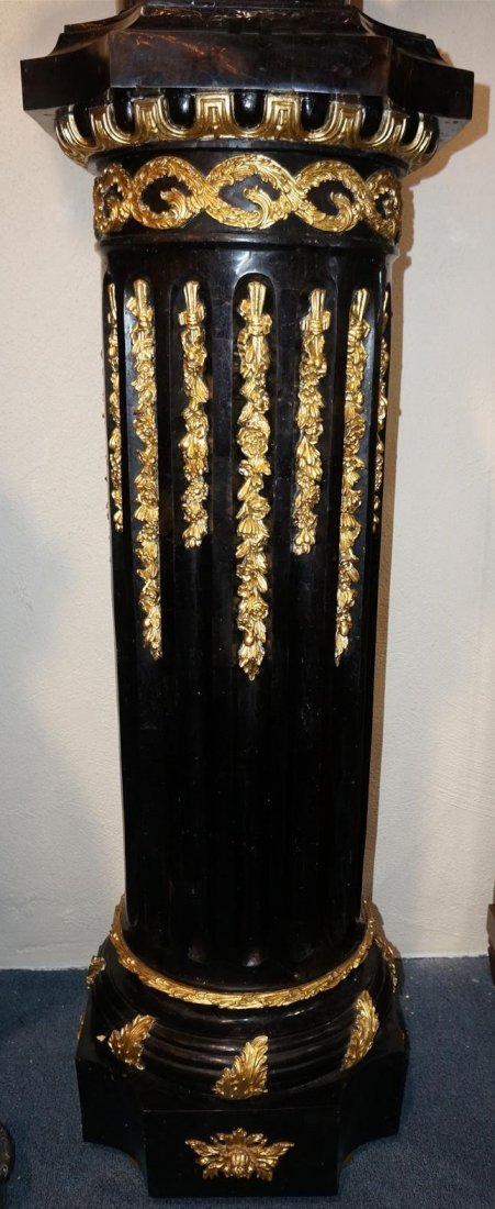 Black Marble Pedestal With Gold Accents - Pair