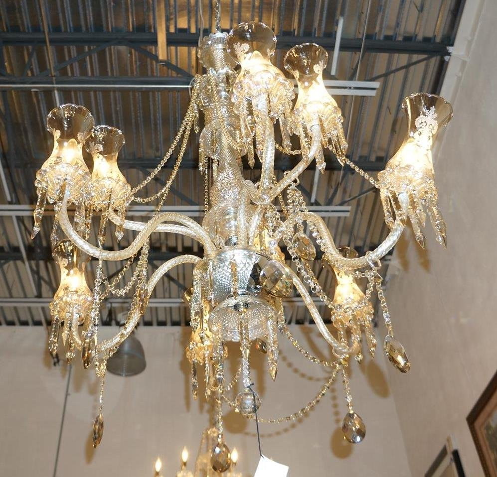 Cognac Crystal Chandelier With Shades -9 Light
