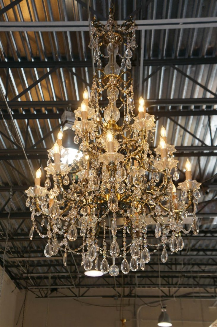 Crystal Chandelier With Bronze 18 Light