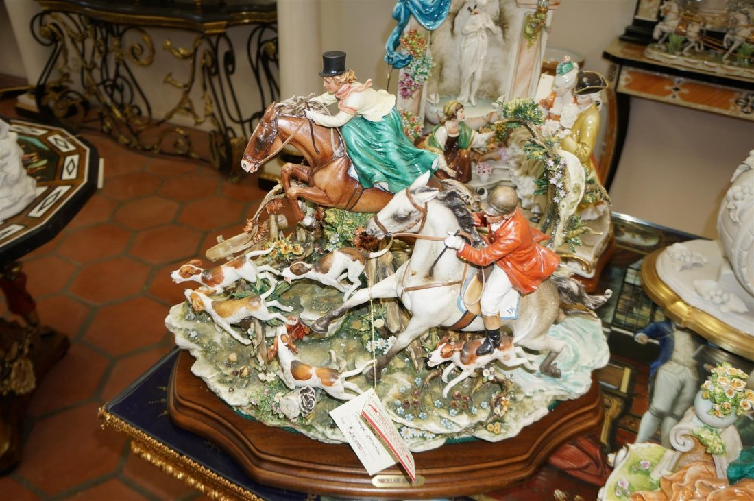 Capodimonte Porcelain Statue - The Hunt With Wood Base