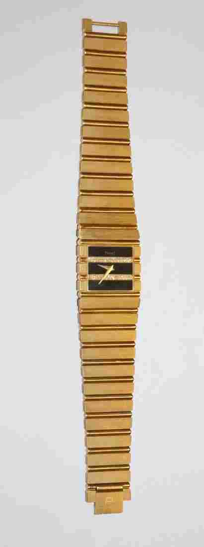 Piaget Polo 18k Yellow Gold & Diamonds Watch Onyx Dial