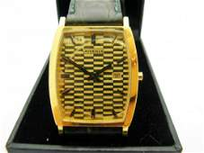 Mens Juvenia 18k Yellow Gold Quartz Movement Leather