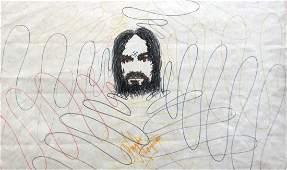 Charles Manson 12 X 18 felt tip marker self-portrait