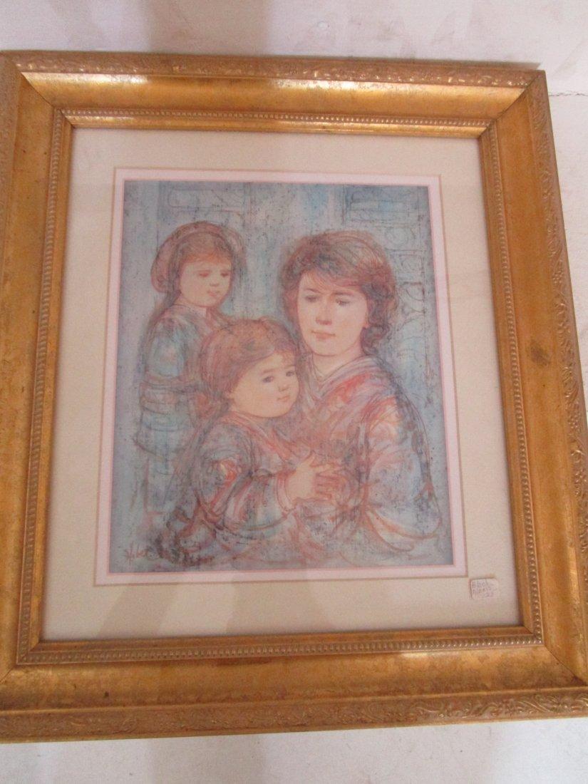 Alexis with children - framed artwork -pencil signed