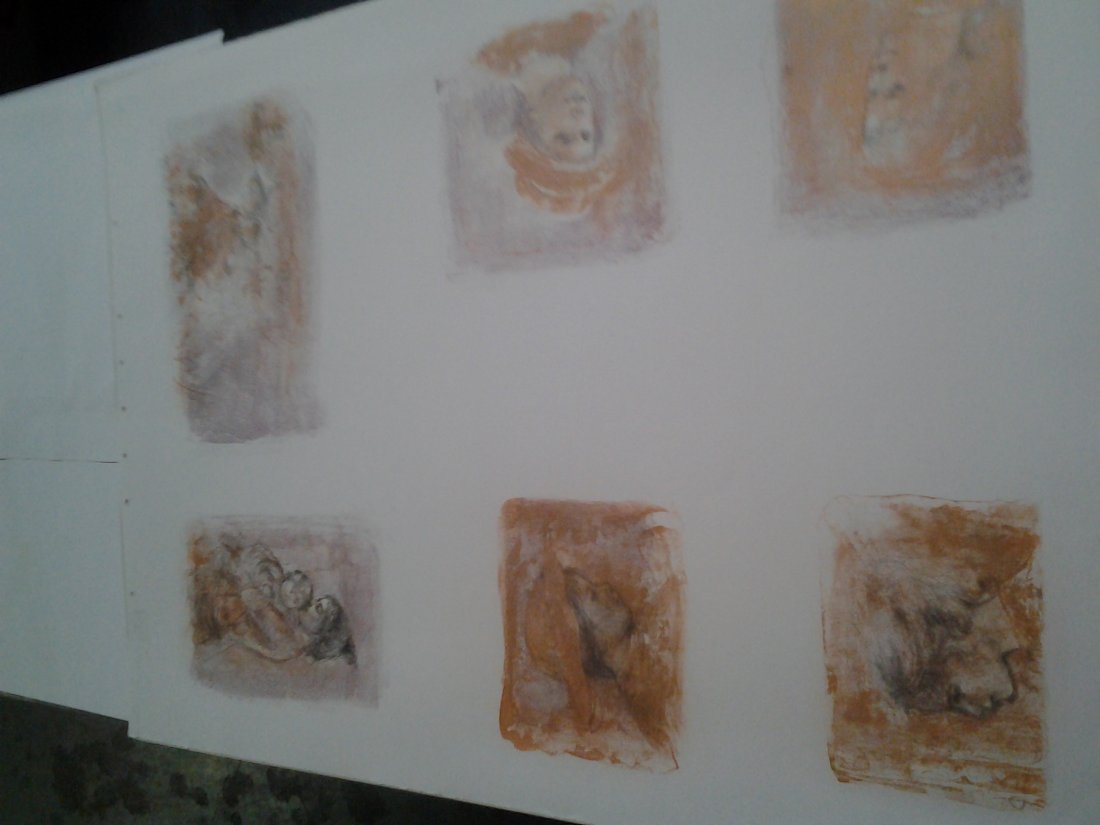 Six pictures on paper with handsigned notes by Edna