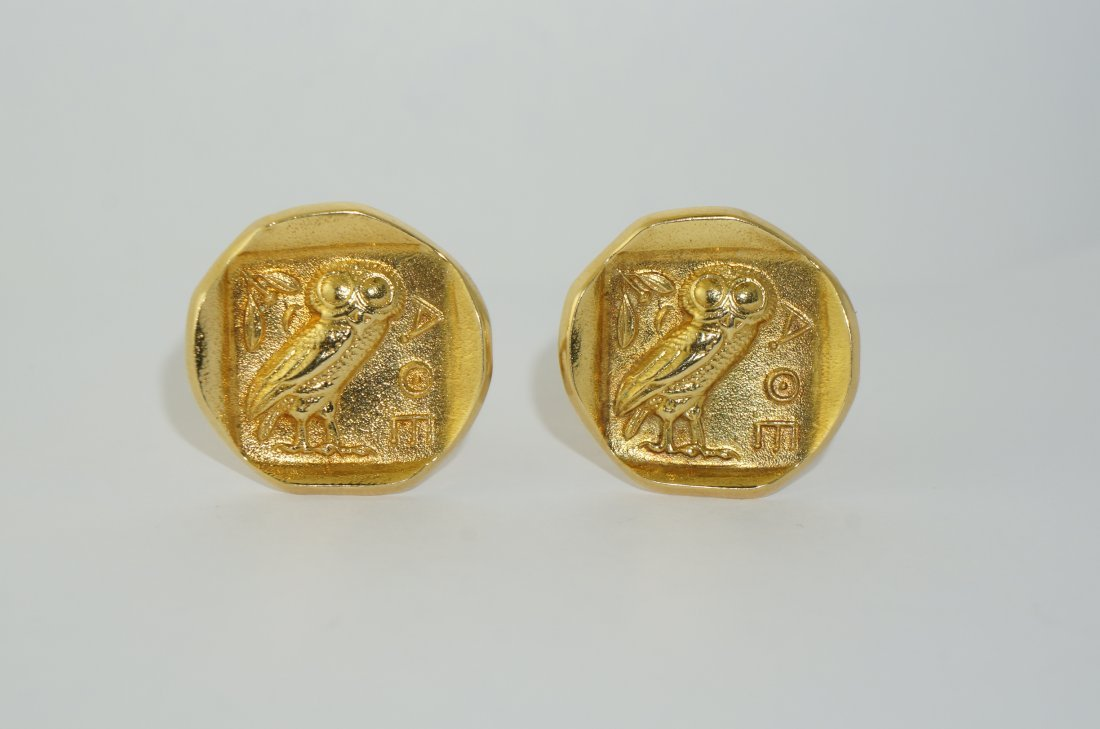 Pair of Rare 18k Gold Stamped Style Cufflinks