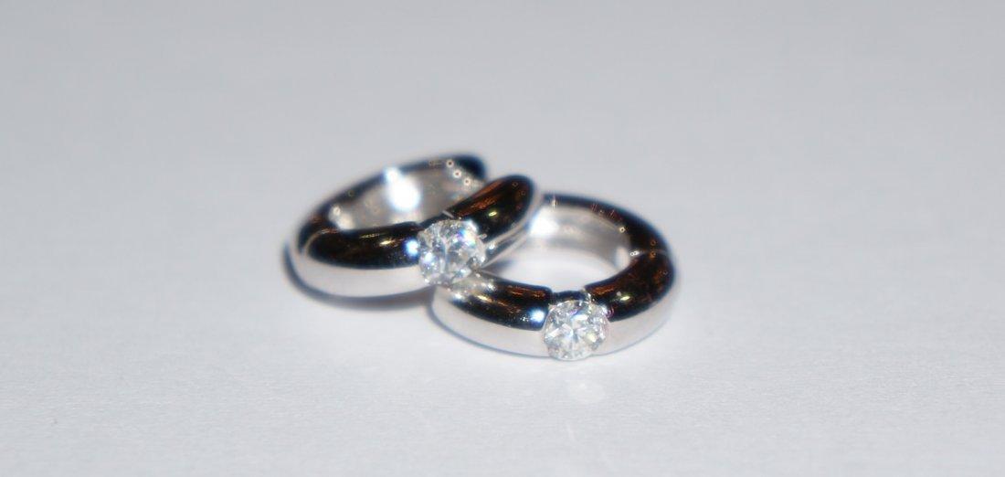 18K White Gold & Diamond Huggie Hoop Earrings