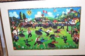 Painting By Antonio Huillca Huallpa Peru B. (1942)