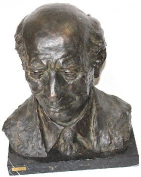 """Bronze Bust W/marble Base - 17"""" Tall"""