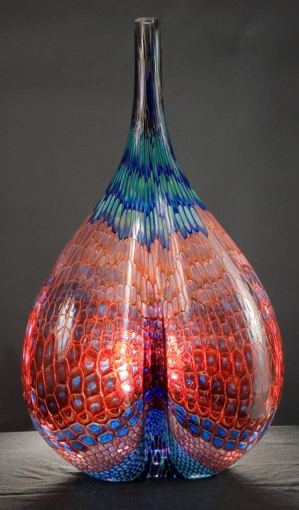 11: Blown Glass Murrine Vessel by Stephen Rolfe Powell