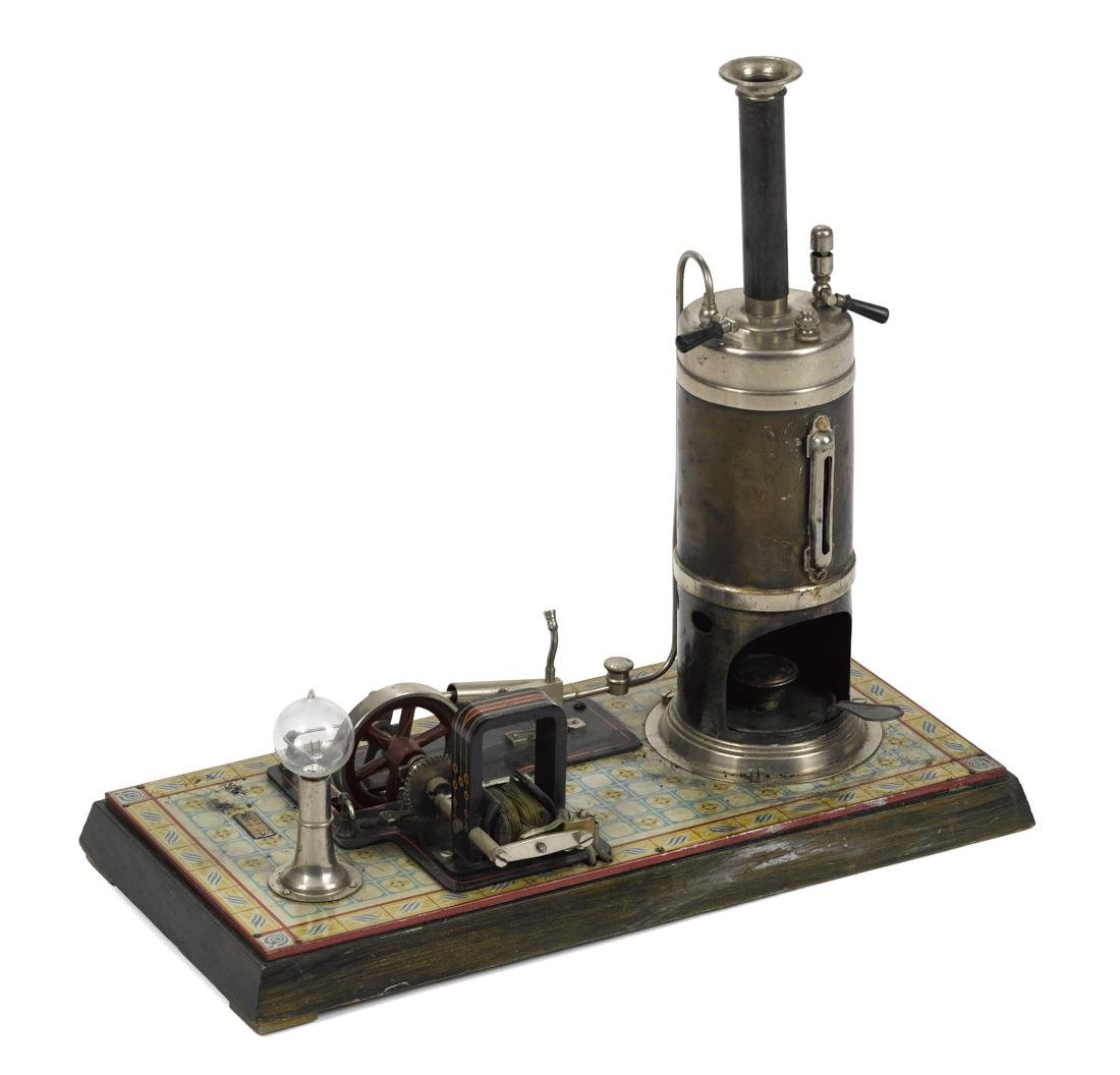 Bing steam engine with dynamo, mounted on a decorated
