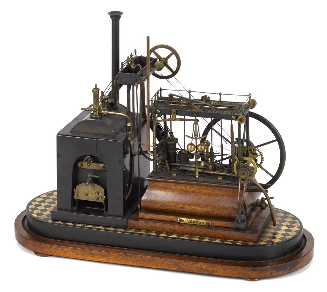 Highly detailed working steam walking beam engine, 19th