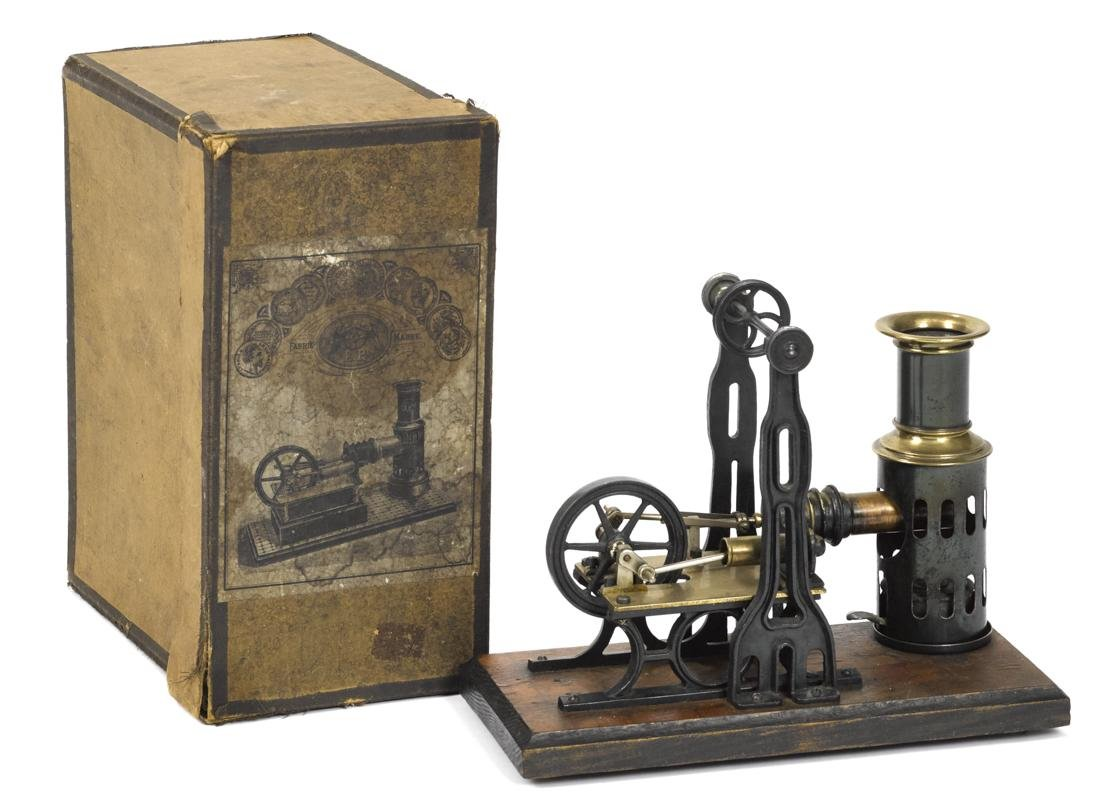 Ernst Plank hot air engine, in original box, mounted on