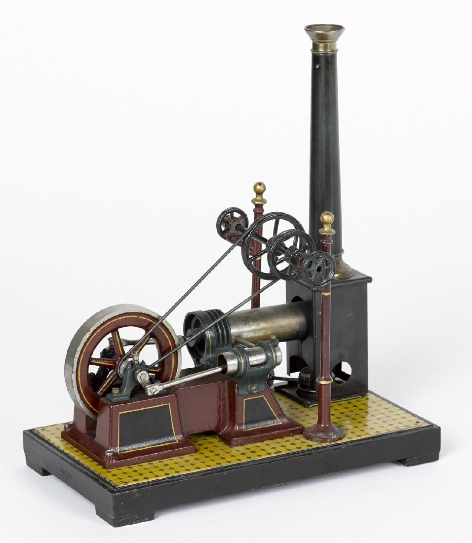Carette single cylinder hot air engine, on a decorated