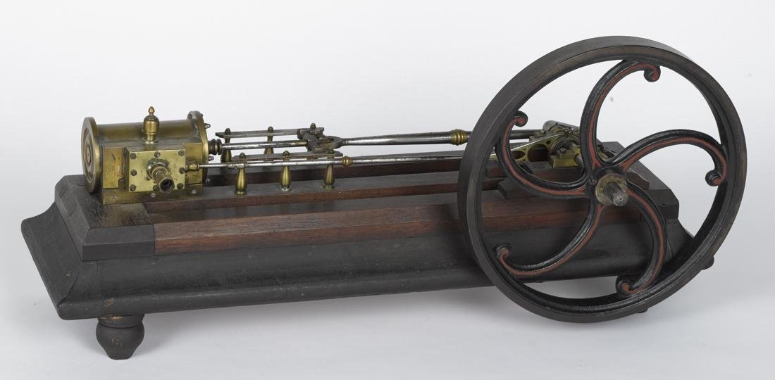 Brass and iron steam engine model, 19th c., on a footed