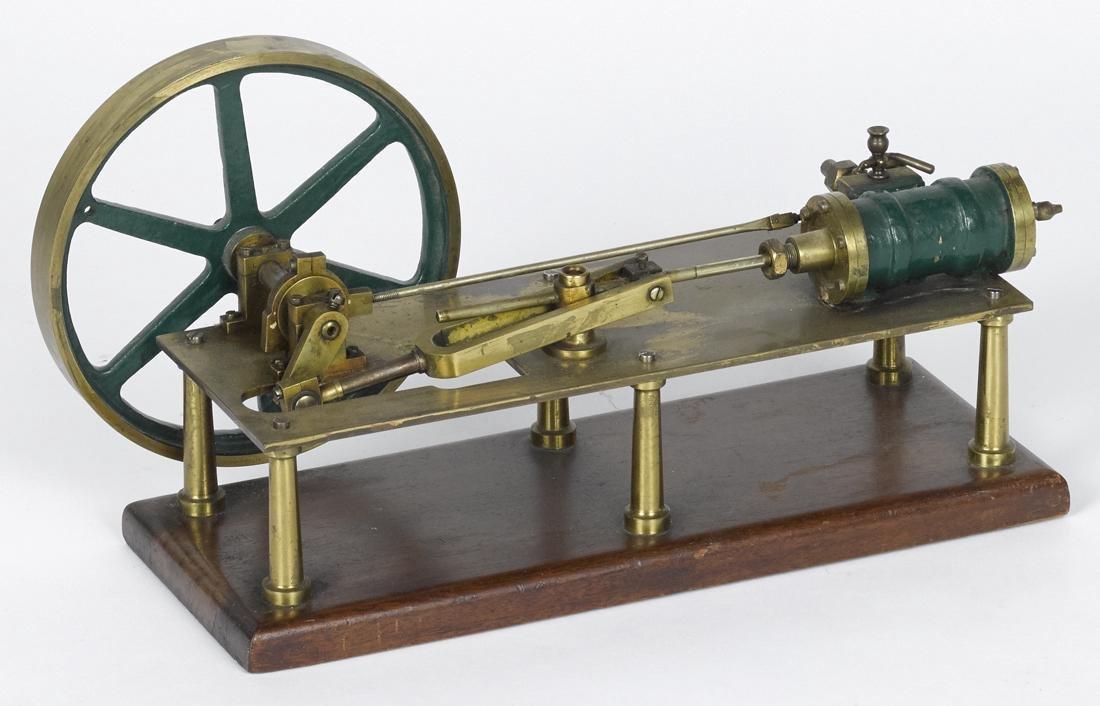 Stevens dockyard style brass motor, on a wood base, 7''
