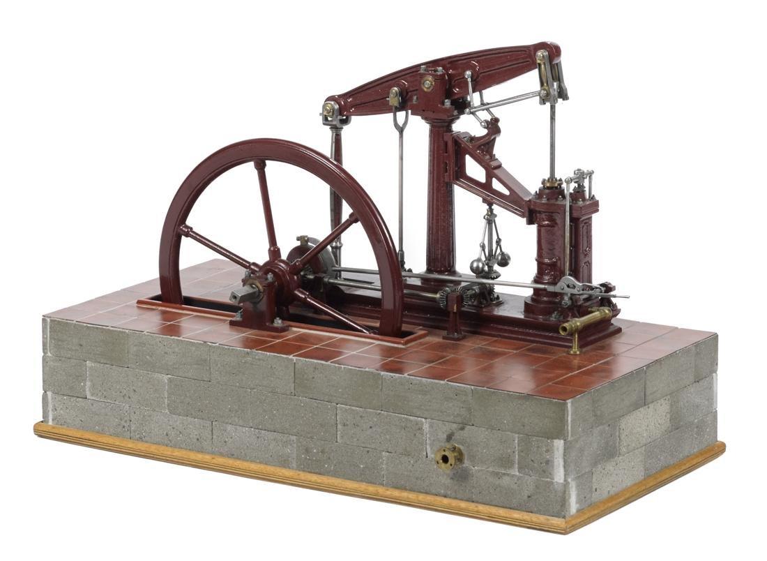 English cast iron walking beam engine with threaded