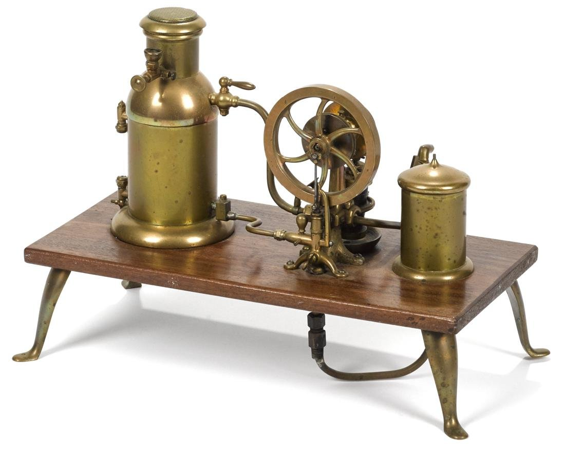 Brass and copper steam engine, mid 19th c., likely