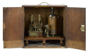 Elaborate brass steam engine with copper boiler, highly