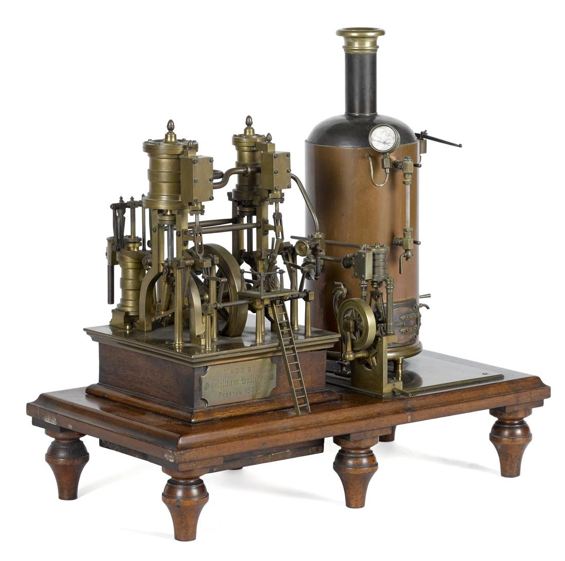 Elaborate brass steam engine with copper boiler, highly - 2