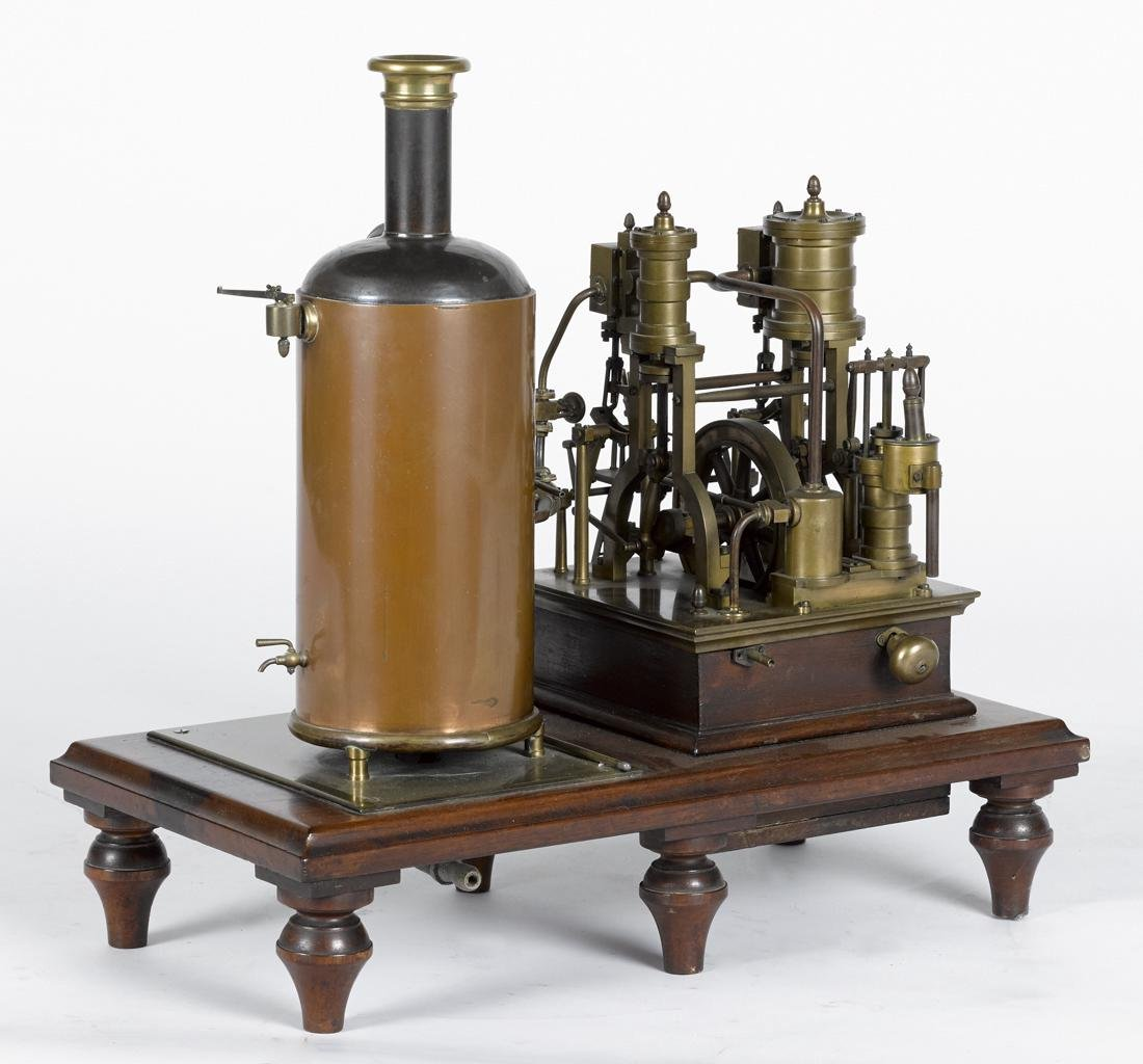 Elaborate brass steam engine with copper boiler, highly - 3