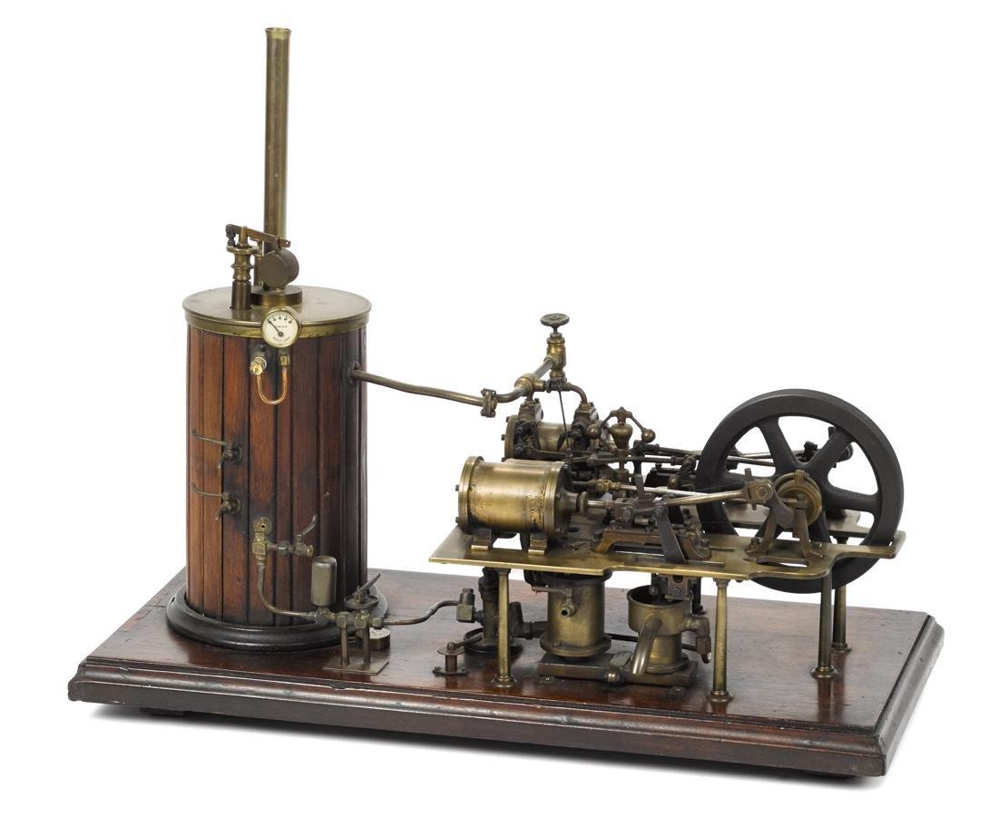 Bassett-Lowke double cylinder steam engine, on a wood