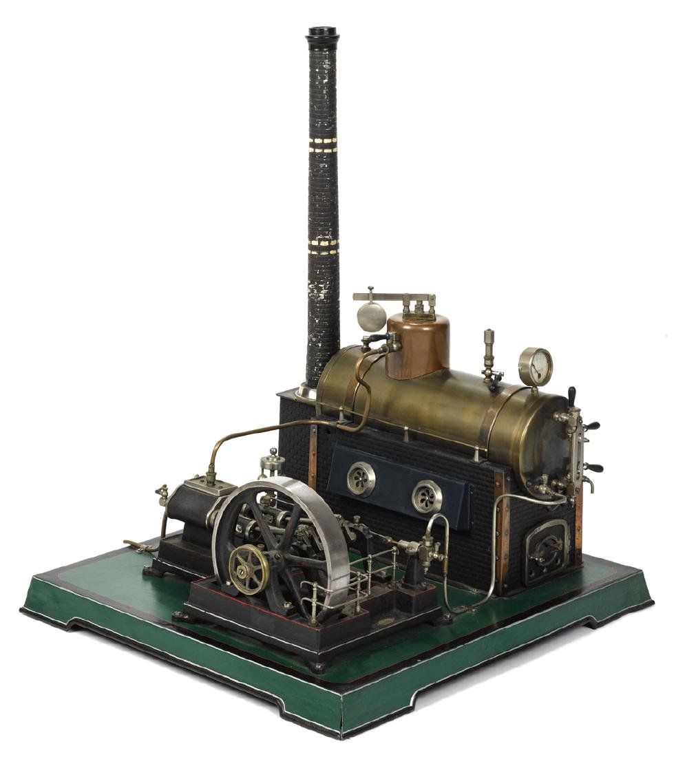 Doll et Cie steam plant with a horizontal boiler, a