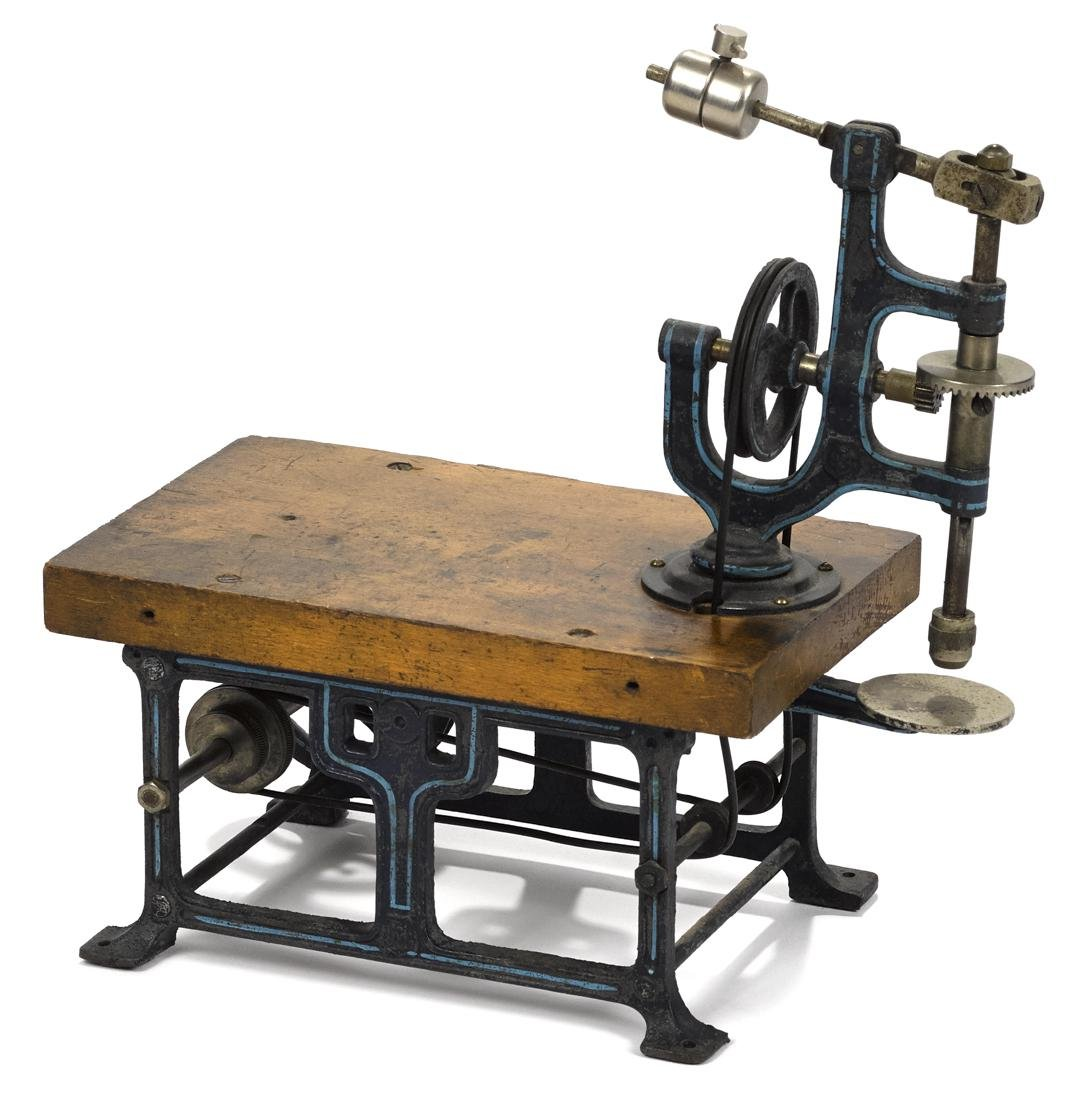 Marklin drill press, wood base with painted cast iron