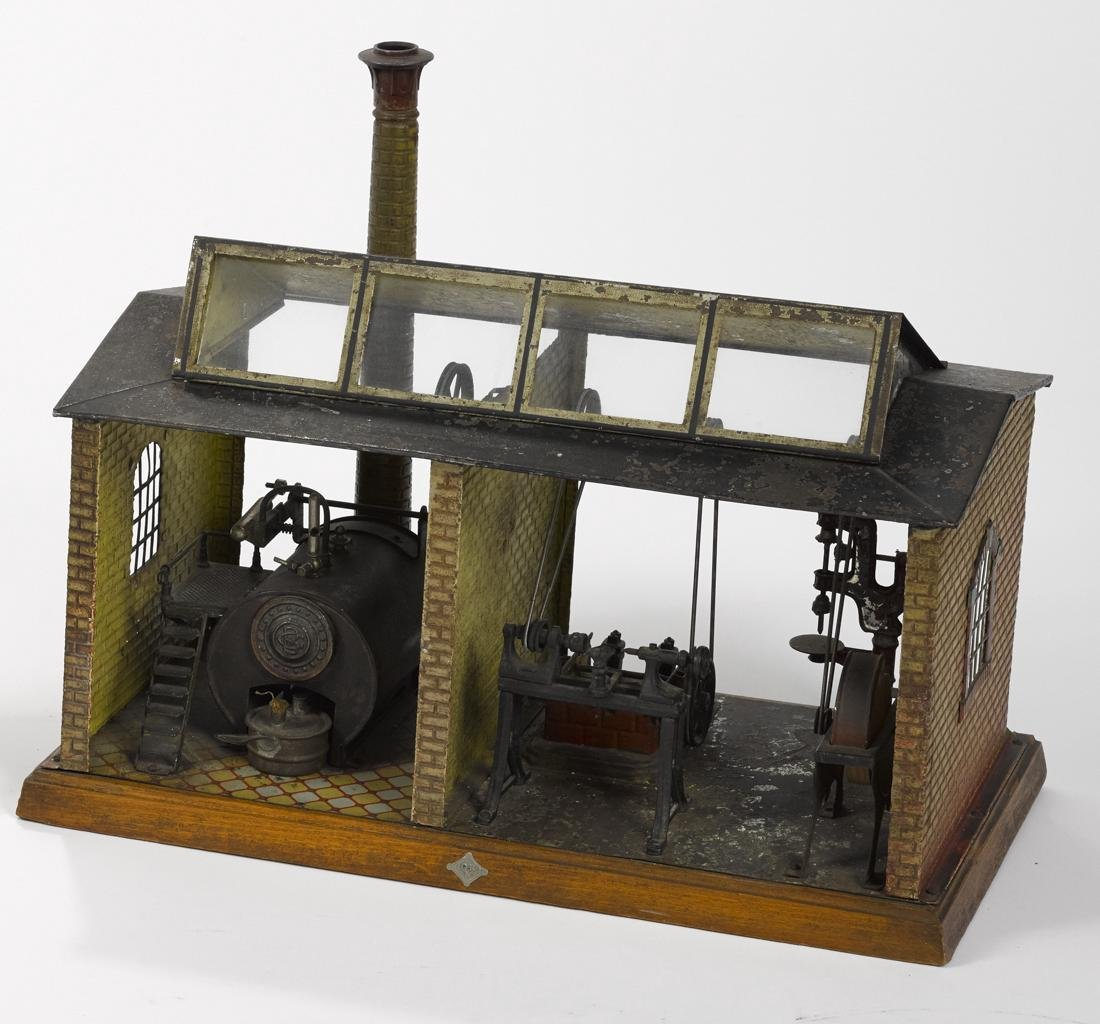 Scarce Bing steam powered workshop, constructed of