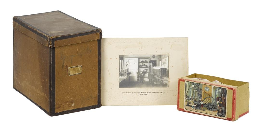 Two steam engine boxes and a photograph, to include a