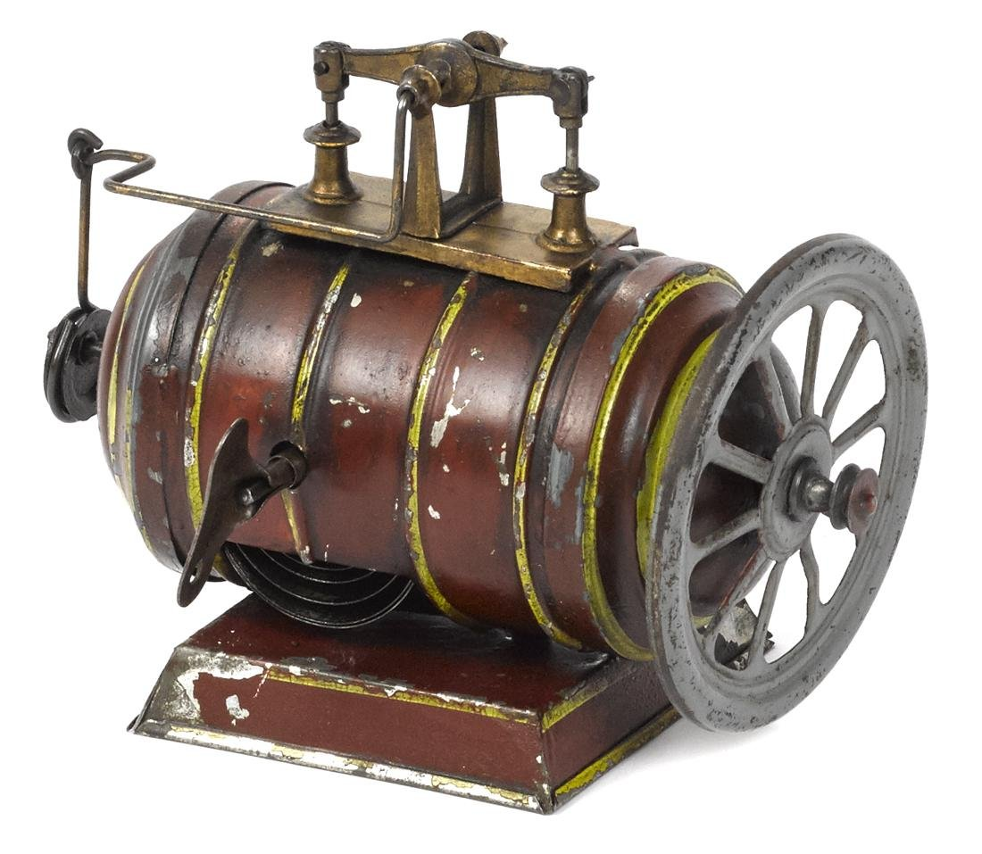 Clockwork walking beam engine with a painted tin