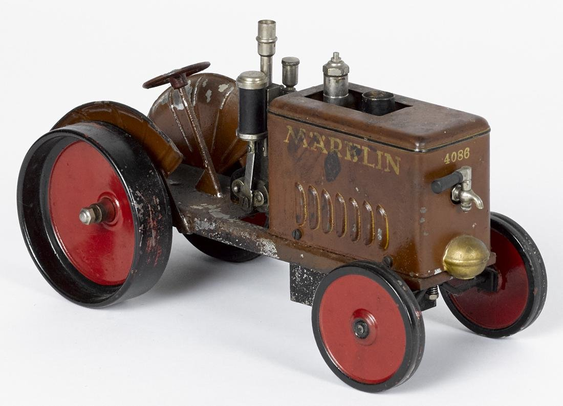 Scarce Marklin painted tin live steam tractor, 6 1/2''