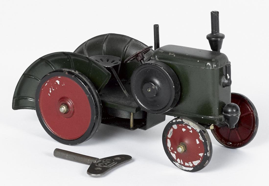 Marklin painted tin clockwork tractor, 4 1/2'' h., 7