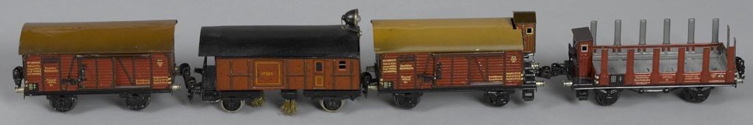 Four Marklin O Gauge freight train cars, to include a