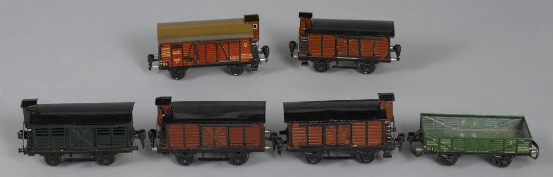 Six Marklin O Gauge freight train cars, 1930's era
