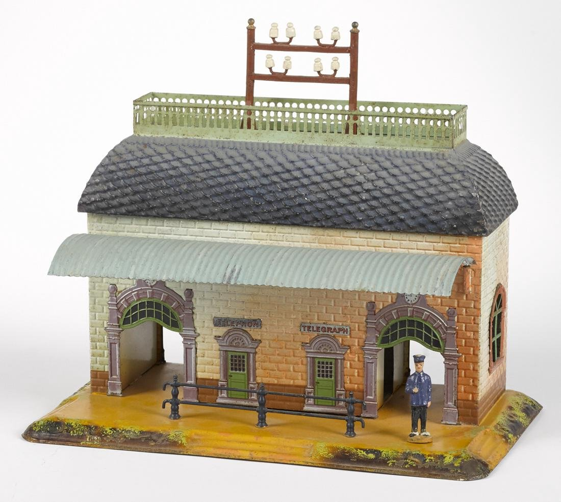 Bing embossed and painted tin train station with double